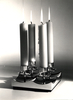 4-light candlestick with low 'scalloped' base ::